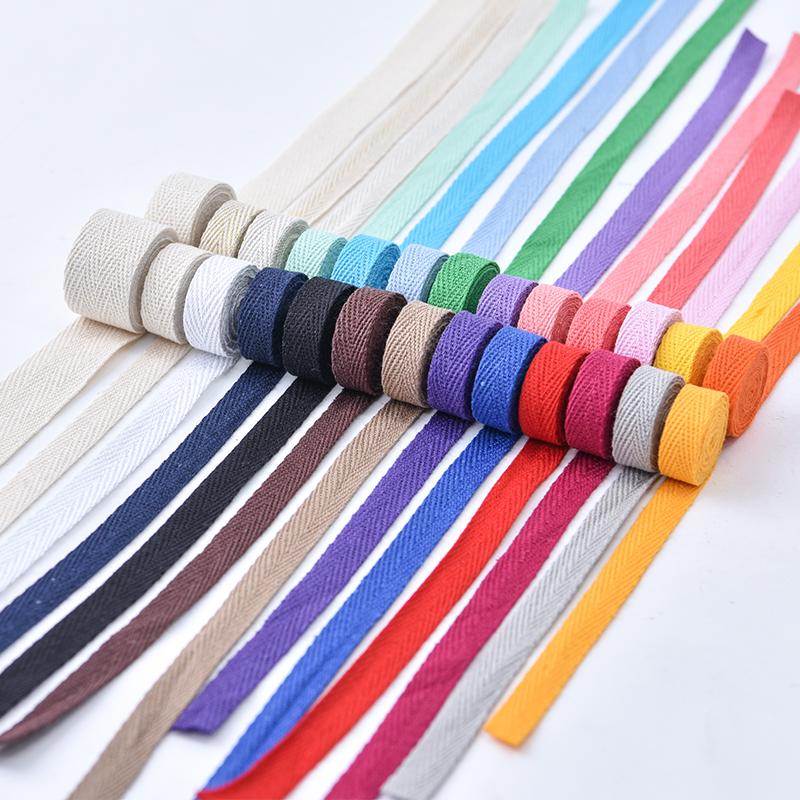 1cm宽彩色布带绳子绑带棉质人字纹织带辅料包边带布料滚边布条