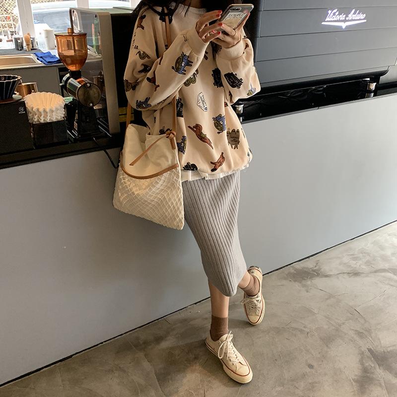 bibo家2019秋冬新款趣味图案印花圆领长袖卫衣女韩版宽松休闲风上