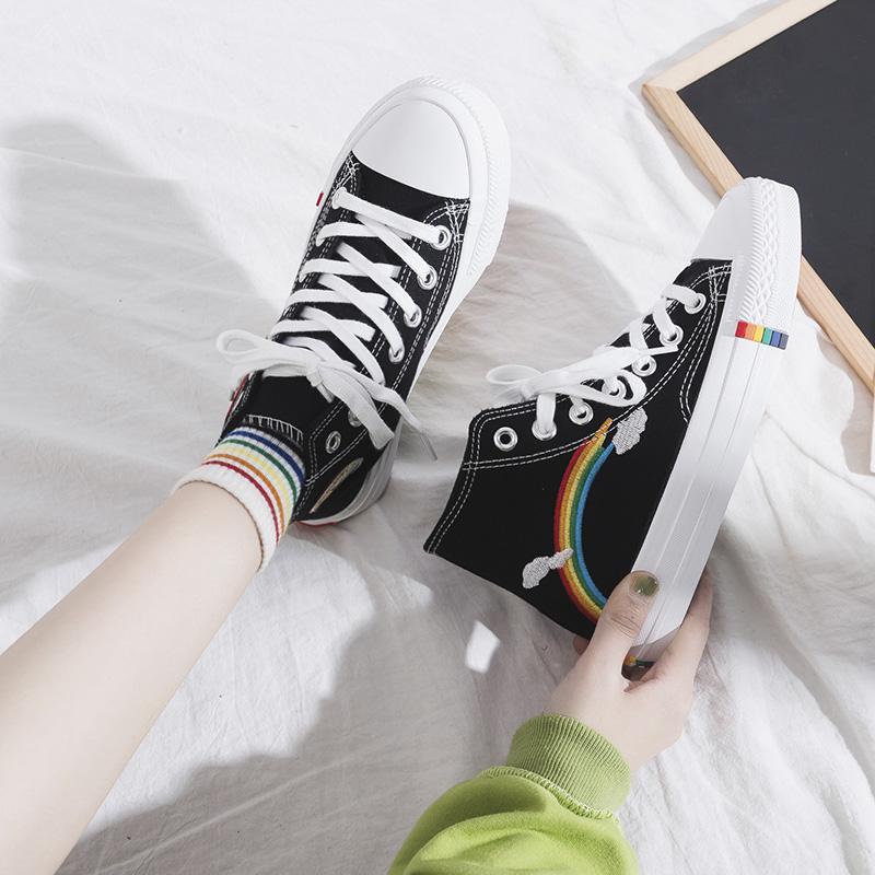 黑色高帮帆布鞋女秋冬款彩虹泫雅风学生韩版百搭ulzzang潮鞋