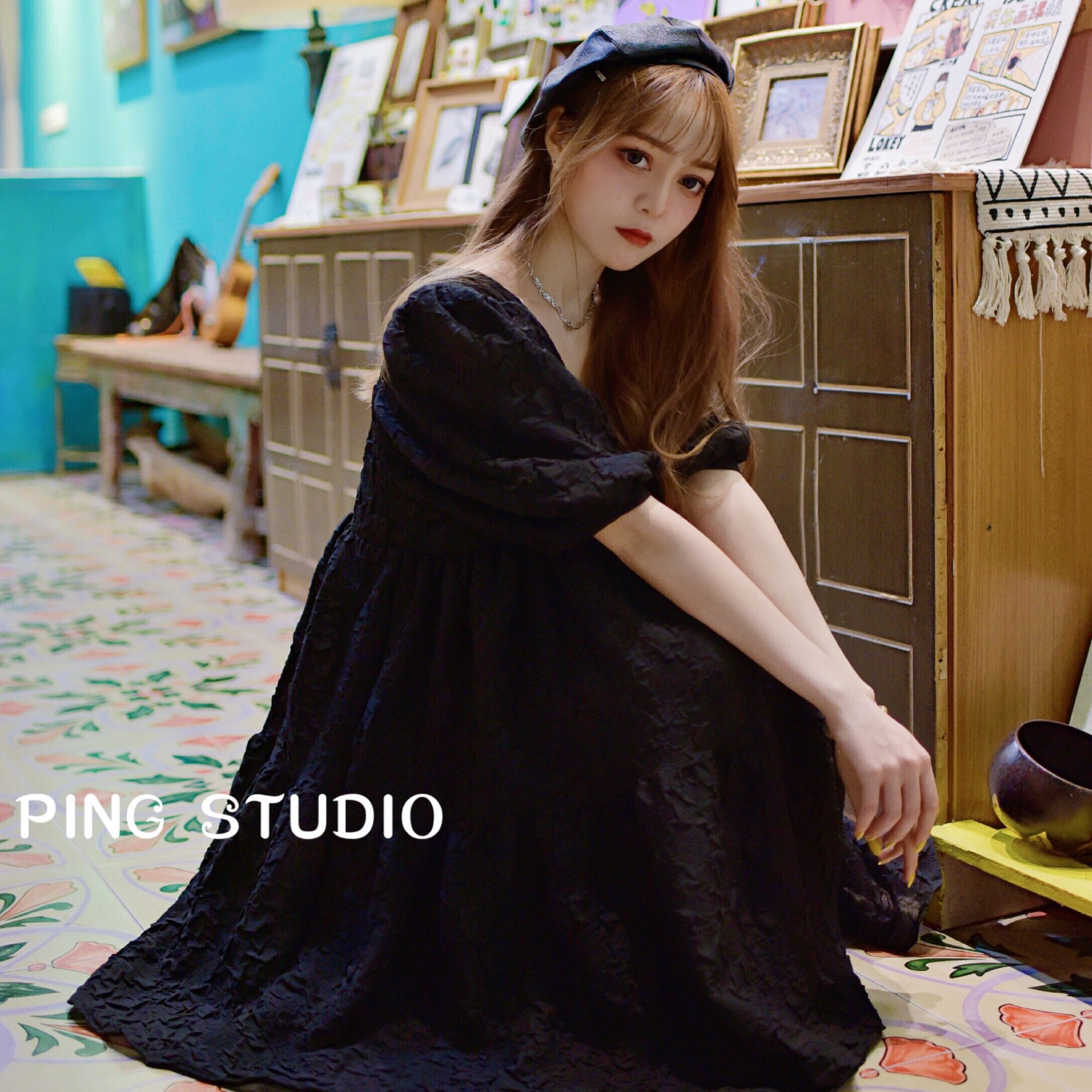 Summer 2020 New Retro French style very fairy square collar bubble sleeve show thin cover meat short sleeve dress womens skirt