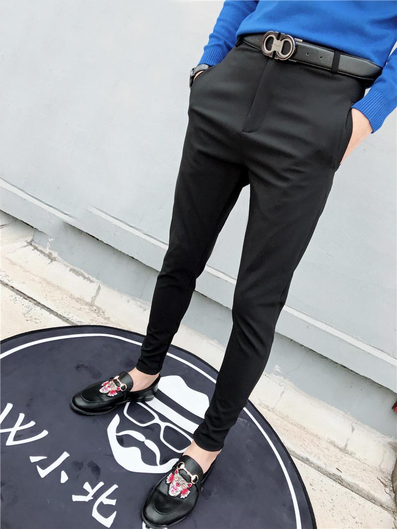 社会精神小伙韩版男士裤子快手红人同款秋季潮流静版修身小脚裤男