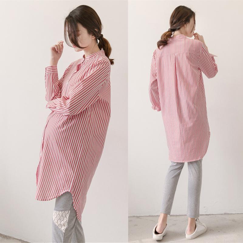 Жир mm свободные большой размеров беременная женщина весна поддержка куртка тонкий длина чистый хлопок, секретаря рукав грудь беременность полоса накладки рубашка