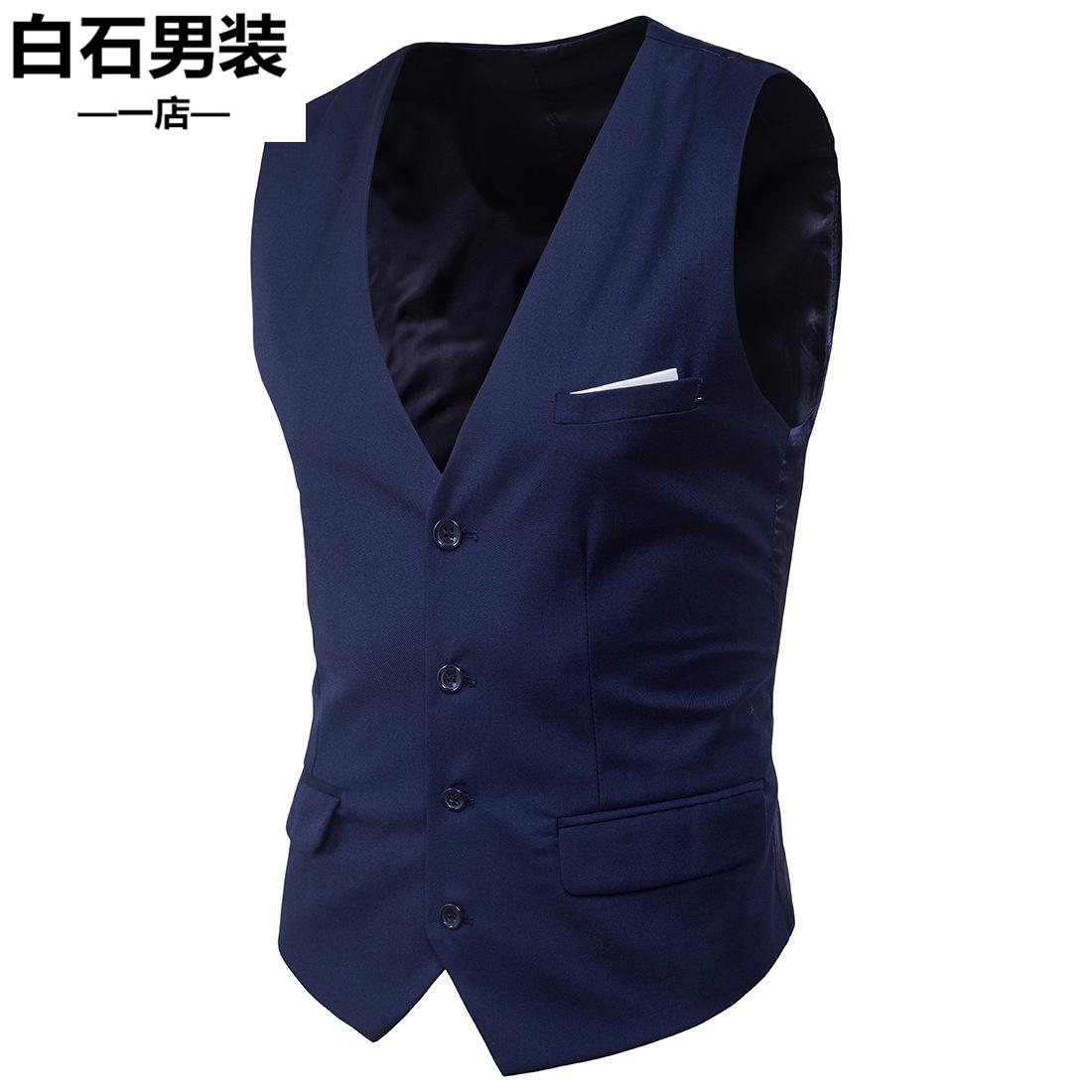Mens business suit vest mens wear with slim fit four seasons fashion casual vest formal suit vest 6xl