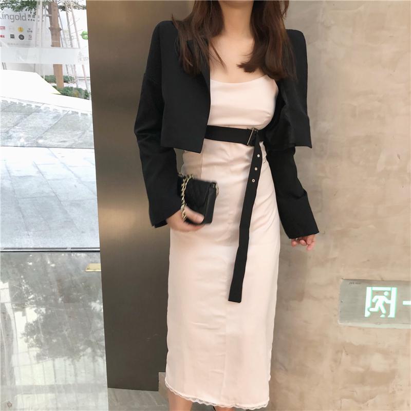 实拍韩国chic绑带束腰短款西装外套+缎面后开叉花边吊带裙女
