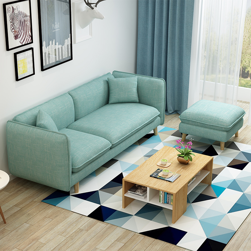 Home Furniture Furniture Simple Solid Wood Small Sofa Nordic Simple Fabric Small Apartment Double Three Person Living Room Single Sofa Chair