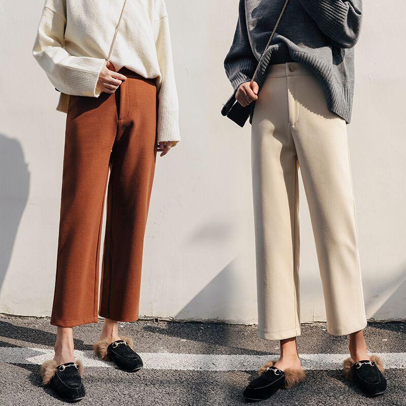 Wide leg pants womens new autumn / winter 2019 Korean nine point loose high waist suit pants straight tube woolen casual pants