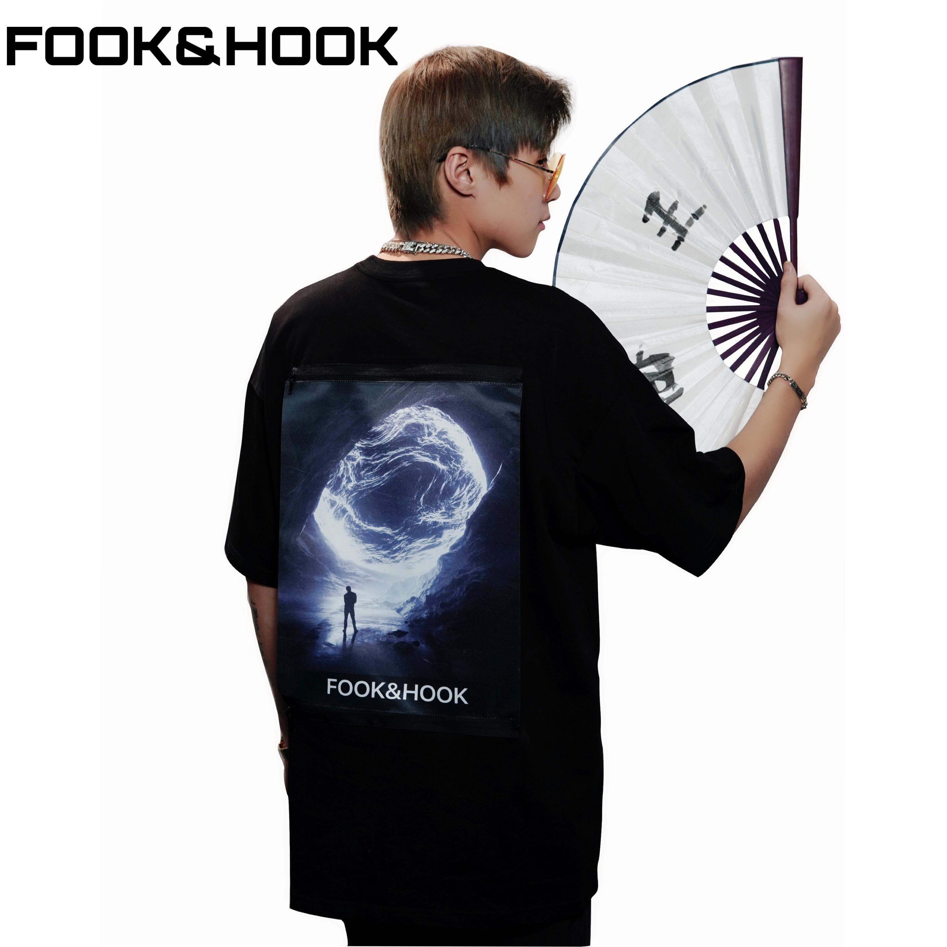 【FH】FOOK&HOOK国朝オリジナルデザイナーブランドは春夏男女Tシャツの半袖カップルを自由に交換します。