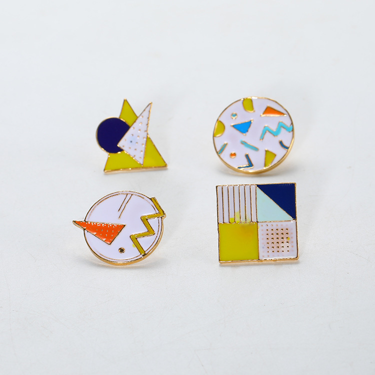 Cute three-dimensional childrens geometric glaze Brooch color contrast creative cartoon pin certificate clothes bag accessories