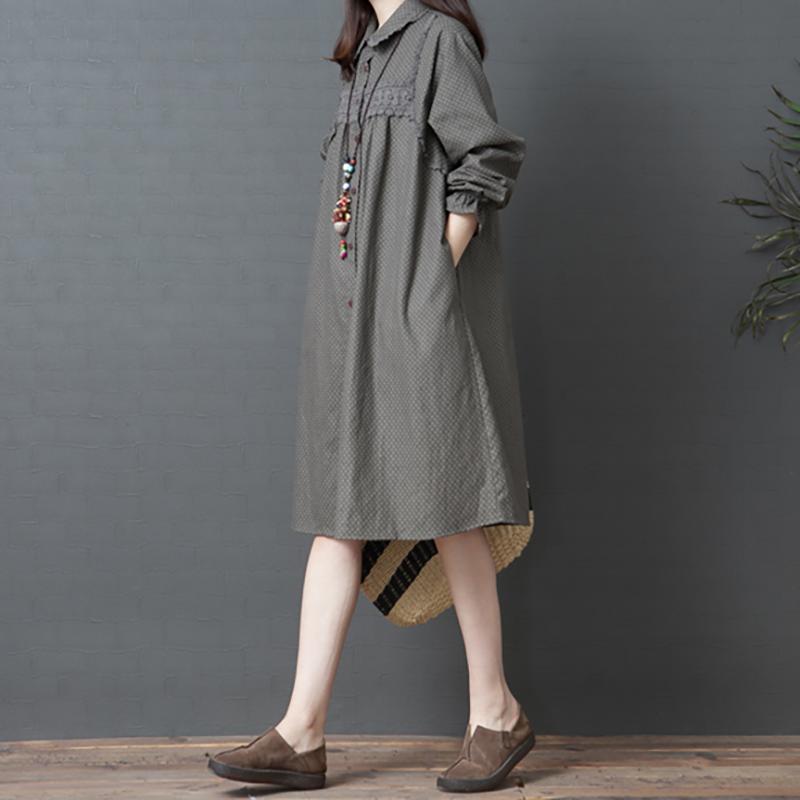 2020棉麻连衣裙春秋新款宽松大码波点显瘦洋气长袖亚麻中长衬衫裙