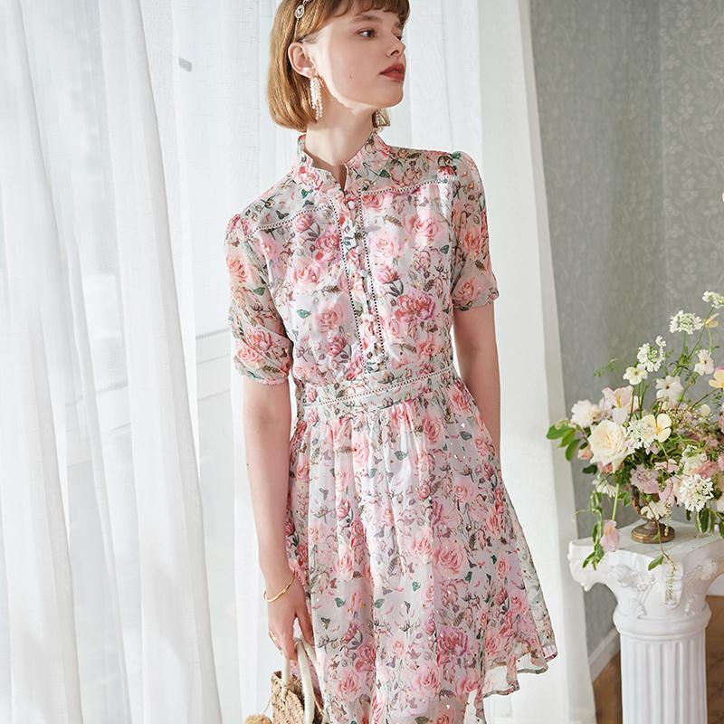跑单  甜美显瘦2色中式风玫瑰印花烫金短袖高腰中裙显白连衣裙