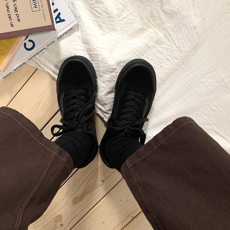 金屿鹿 韩国ins街拍原宿滑板鞋休闲运动帆布鞋chic女小黑鞋男潮