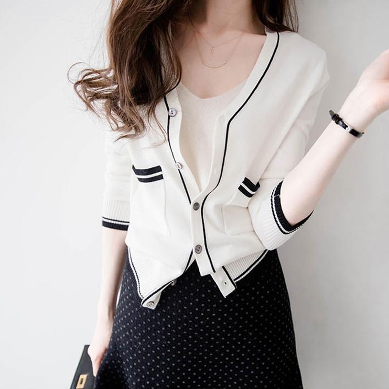 开衫外套女针织春秋短款小香风2020年新款毛衣上衣春装女外搭薄款