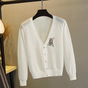 冰丝针织外搭开衫女空调衫披肩夏季薄款短款小外套亚麻防晒配裙子