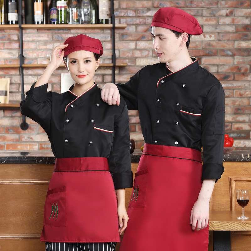Chefs clothing long sleeve overalls mens and womens autumn and winter clothing hotel restaurant coffee shop kitchen staff uniform cotton