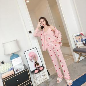 草莓睡衣女春秋夏季長袖純棉三件套韓版學生甜美全棉家居服套裝