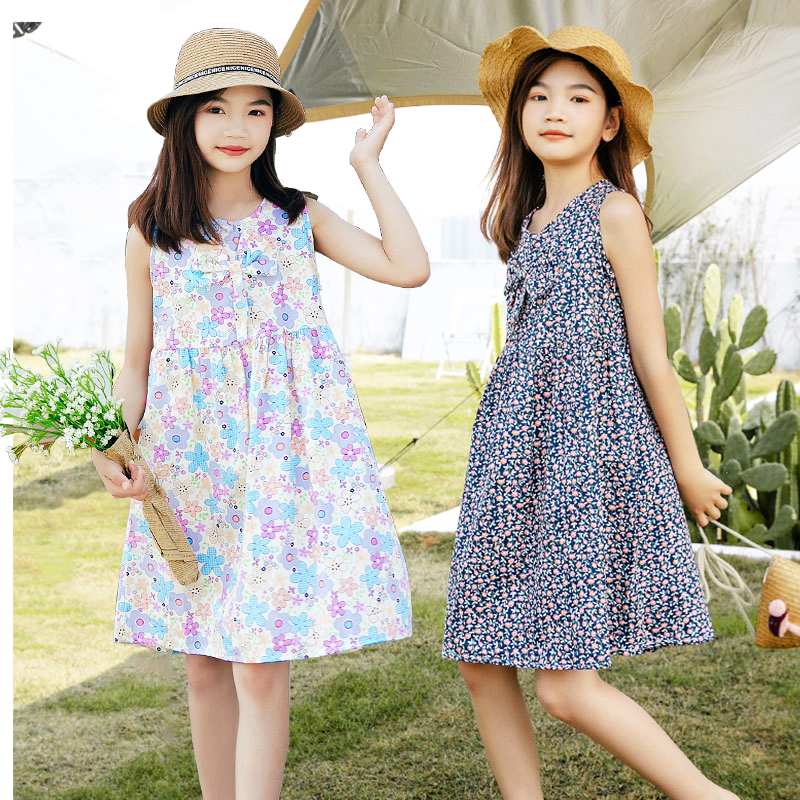 Summer girls dress pure cotton princess skirt 4 childrens middle and big childrens 7 Korean super foreign style 10-year-old fashionable summer dress skirt