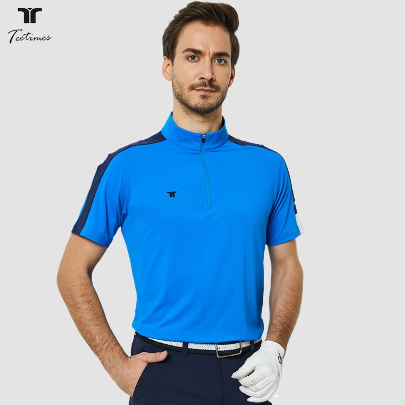 夏季高尔夫服装男立领短袖T恤户外运动速干吸湿球衣高尔夫衣服男