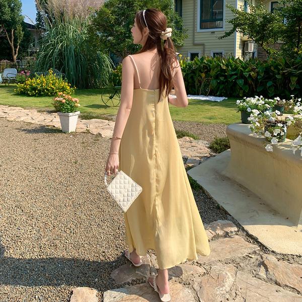 TS45389#新款超仙珍珠吊带连衣裙海南三亚海边度假淡黄色长裙