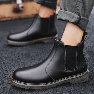 马丁靴男高帮2018秋季英伦风百搭潮复古套脚皮鞋布洛克沙漠工装鞋