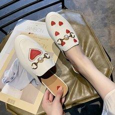 爱心马衔扣包头鸳鸯鞋不对称半拖鞋爆款网红外穿平底穆勒鞋女鞋