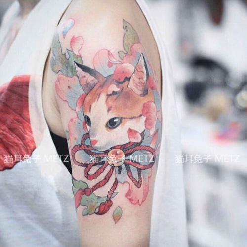 METZ韩国少女防水仿真男女纹身贴持久日系浮世绘猫咪半臂手臂贴纸
