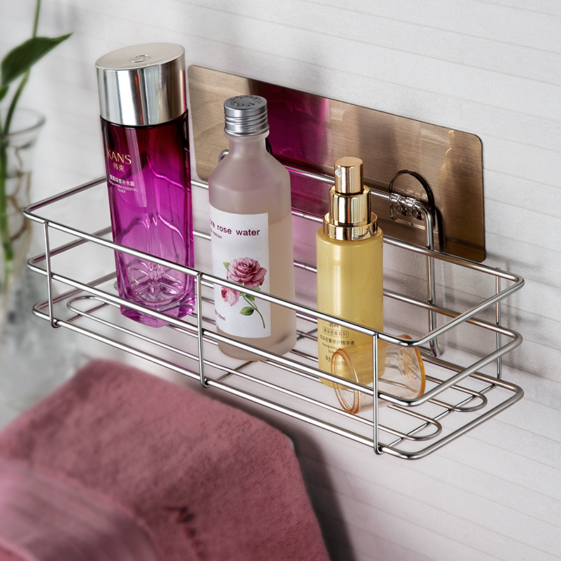 Stainless steel kitchen suction cup bottle and jar shelf wall hanging storage and finishing rack bathroom non perforated shelf toilet rack