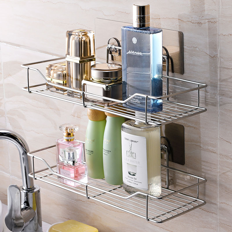 Creative suction tray shelf non punching bathroom stainless steel storage rack wall hanging kitchen shelf bathroom rack toilet