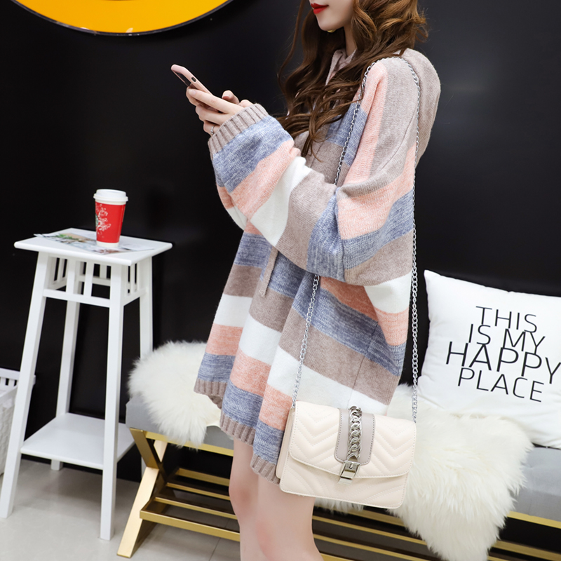Colorful series gentle wind loose hooded striped sweater womens autumn and winter Korean lazy sweater coat