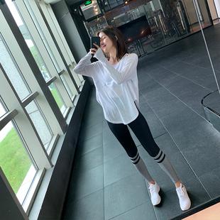 新款 健身房上衣宽松瑜伽t恤女 速干露肩跑步运动休闲防嗮长袖 薄款