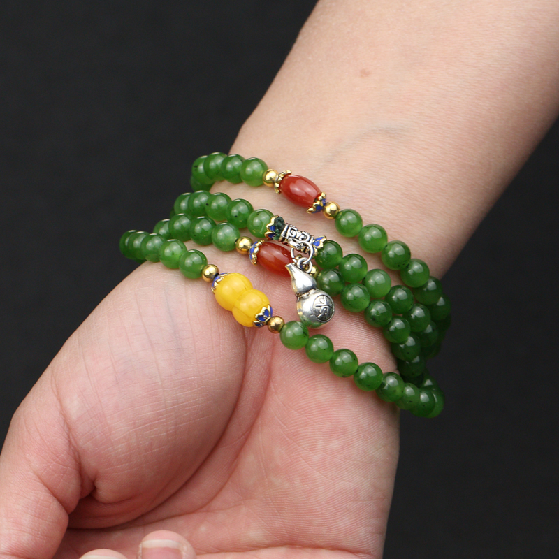 Xinjiang natural jade spinach green jasper genuine bracelet for women with certificate mail new jewelry genuine jade