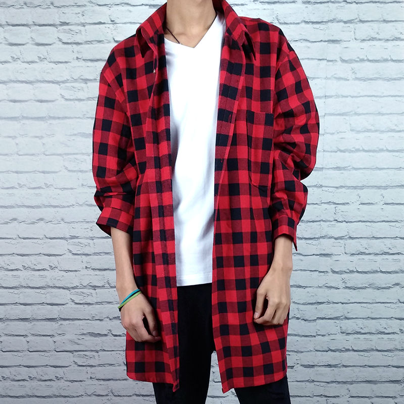 Mens Plaid Shirt Mens long sleeve Korean fashion brand mid long shirt loose student fashion coat cotton linen shirt