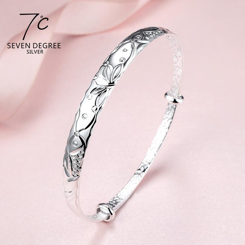 (用25元券)七度银饰7℃999纯银手镯女款手环