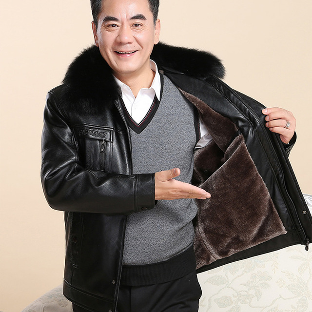Winter father middle aged and elderly Leather Mens loose Large Plush thickened coat warm leather jacket mens clothing Dad