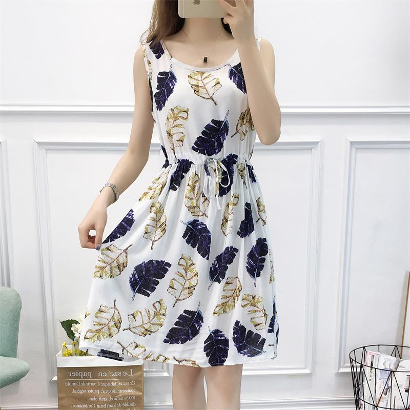 女夏2021新款韩版系带高腰连衣裙