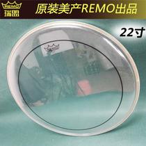 美产remo瑞盟架子鼓22英寸BASS双层油止音圈透明地鼓打击面地鼓皮
