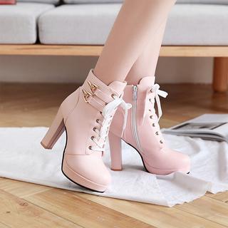 侧拉链百搭马丁靴女短靴子英伦风2021秋冬季新款高跟女靴粗跟女鞋