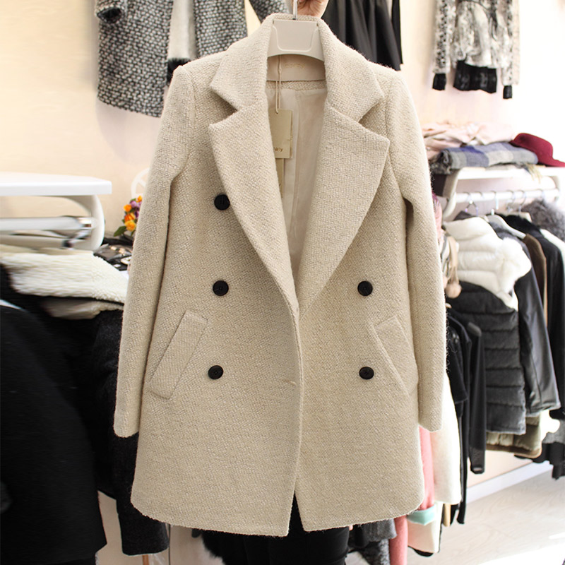 Autumn and winter new Cape woolen coat womens middle and long Korean slim double breasted fashionable woolen coat