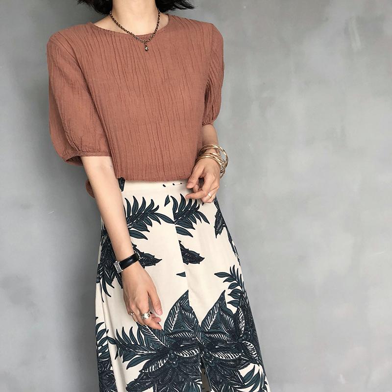 kikochic韩国进口代购纯色复古圆领泡泡袖棉麻短袖衬衫女夏季新款