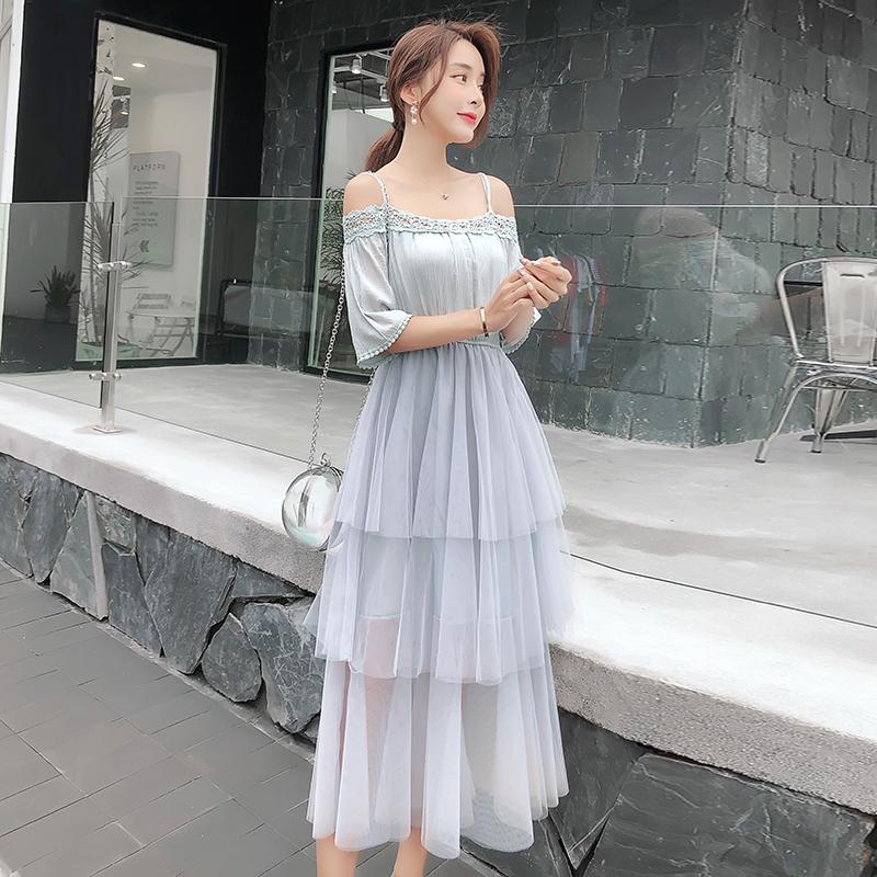 2019流行裙子夏装新款一字领高腰气质网纱连衣裙女蛋糕裙潮