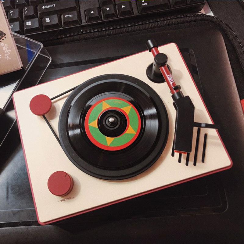 Tinyl LOOP迷你黑胶唱片复古电唱机蓝牙音箱潮流音乐创意玩具盒子 Изображение 1
