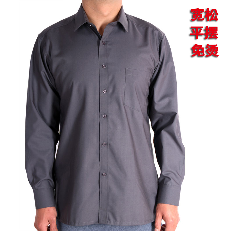 Middle aged and elderly mens long sleeve Dacron shirt fathers wear summer thin elderly loose fathers work clothes shirt