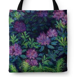 莫奈紫色小花帆布包数码印花手提单肩购物袋自习包企业礼品袋定制