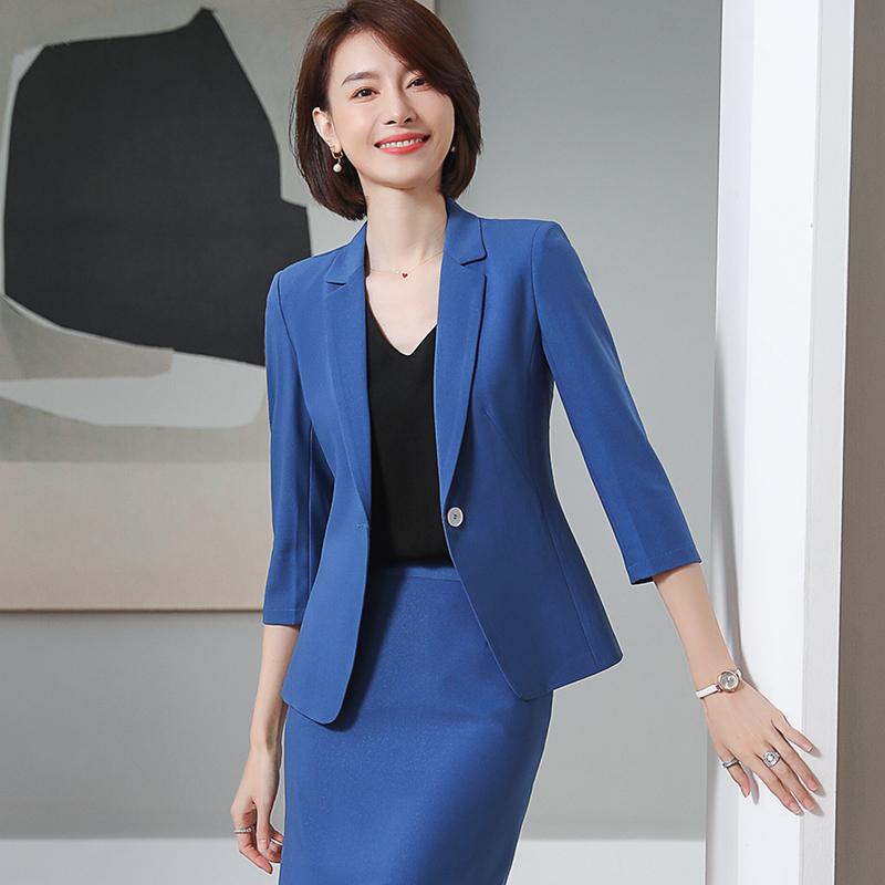 Blazer Jacket summer thin womens 7-sleeve suit pants fashion professional temperament Korean slim work clothes fashion