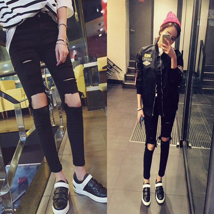 Womens 9-point Leggings show thin through holes and wear thin in spring and summer