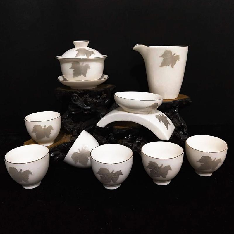 創窯金邊楓葉玉瓷高布袋杯功夫套裝茶具 整