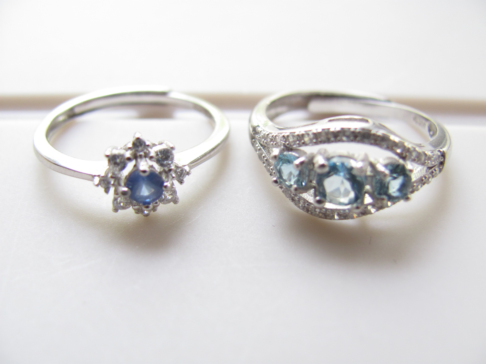925 pure silver natural Aquamarine / sapphire 2 options small ring ring adjustable mouth anti allergy 512