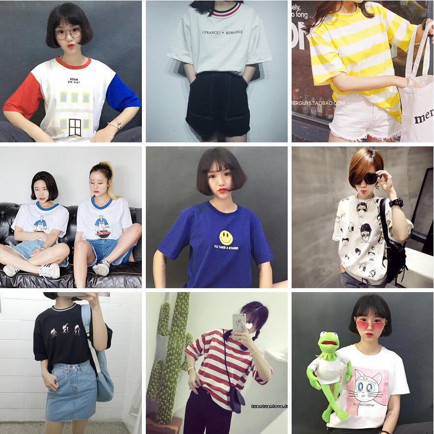 2018夏季韩国ulzzang原宿少女风短袖t恤女学生大码闺蜜装班服潮