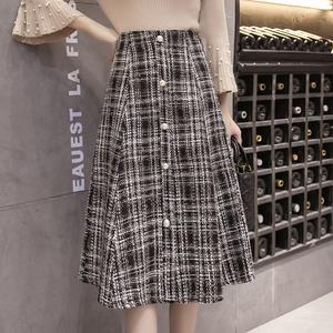 实拍6828#2017秋冬新款格子半身裙中长裙