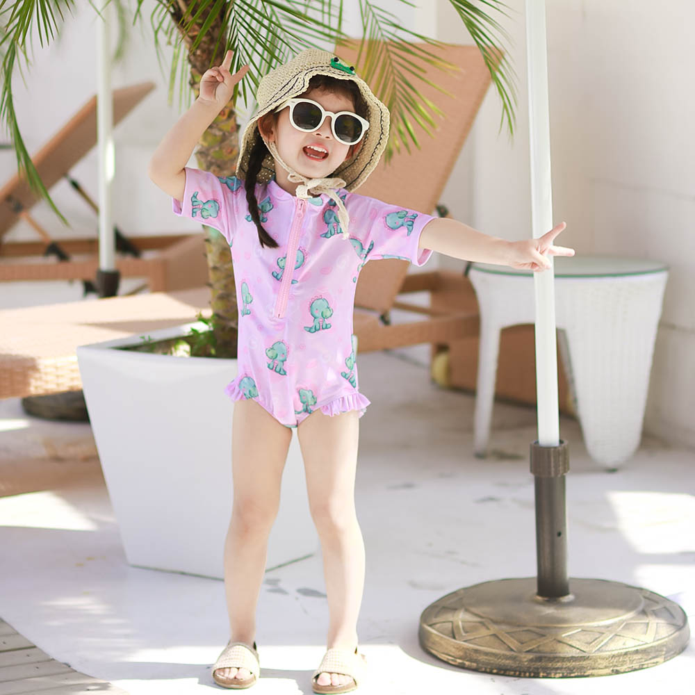 Childrens swimsuit Korean version ins girls one piece middle and large childrens cartoon baby swimsuit cute girls swimsuit
