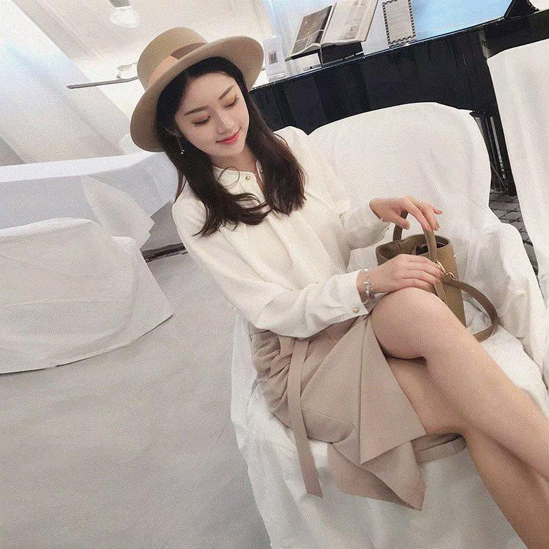 2018新品加女装两裙子春装衬衣港味时髦韩范温柔风气质套件套